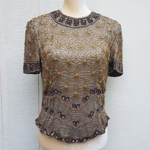 papell boutique evening silk sequined top size 8